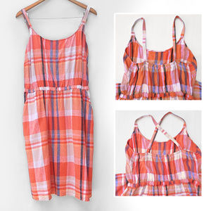 Old Navy Multiway Linen Blend Summer Plaid Dress
